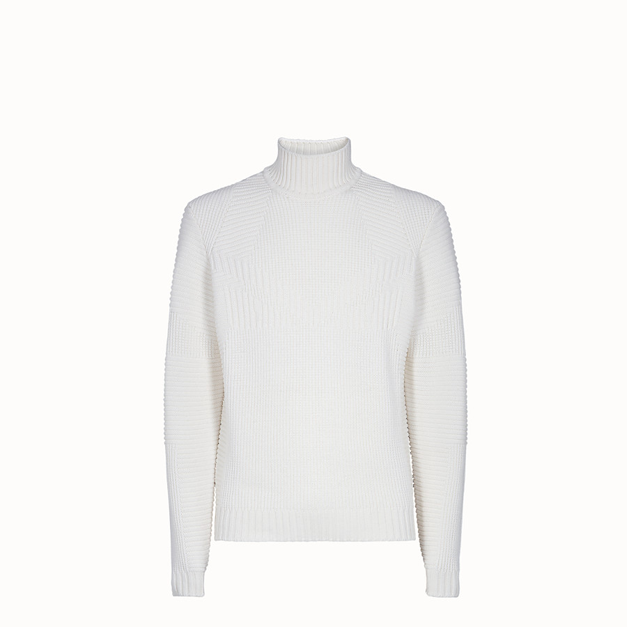 FENDI PULLOVER - White wool sweater - view 1 detail