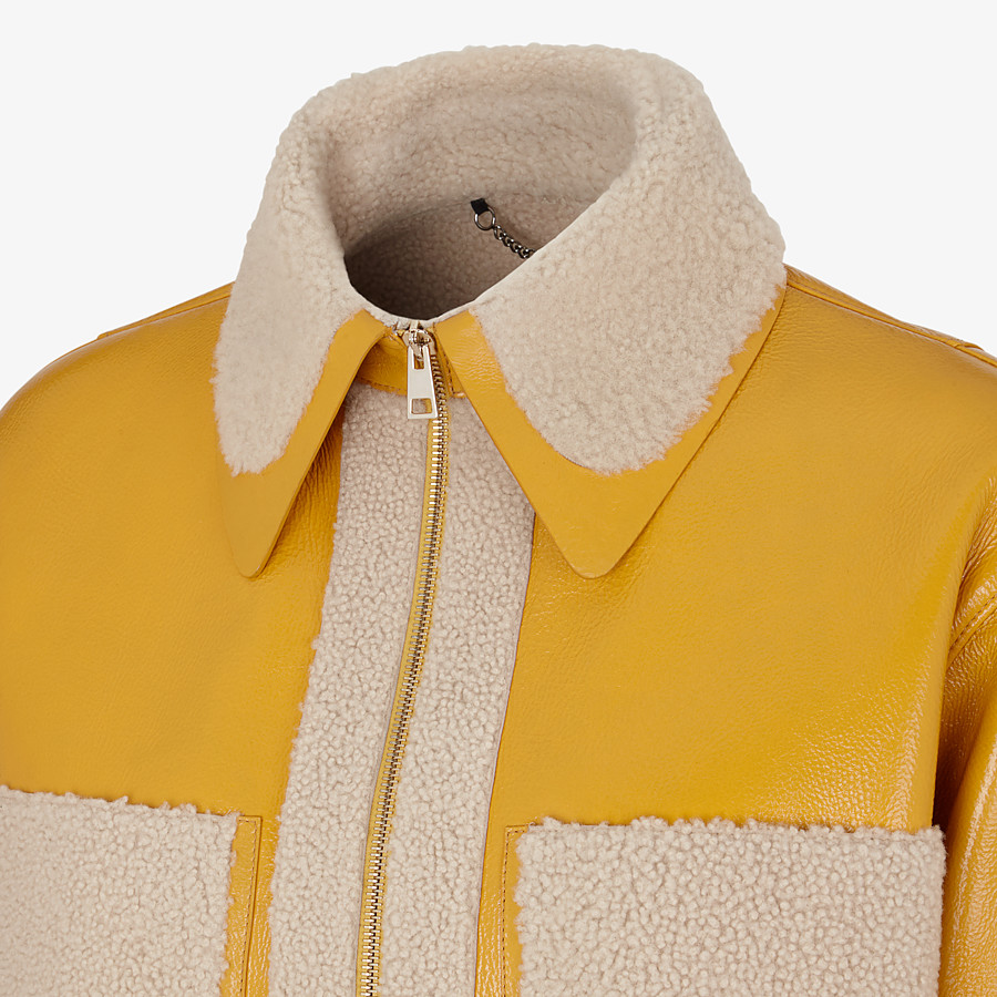 FENDI JACKET - Yellow shearling jacket - view 3 detail