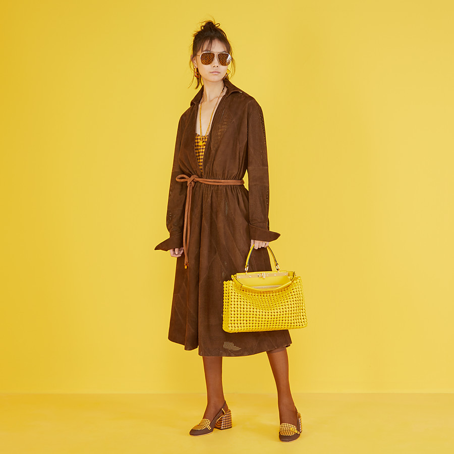 FENDI PEEKABOO ICONIC MEDIUM - Yellow leather interlace bag - view 2 detail