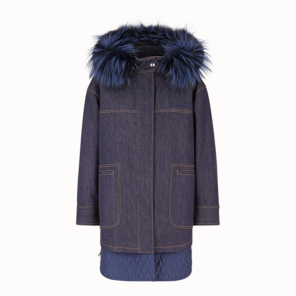 FENDI PARKA - Blue denim parka - view 1 small thumbnail