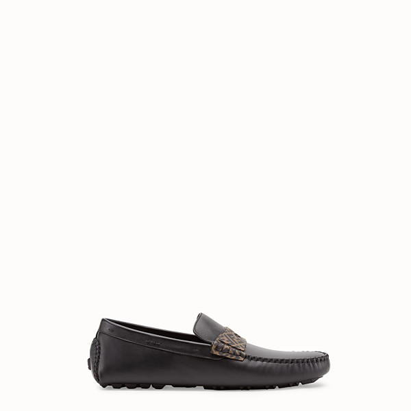 FENDI LOAFERS - Black leather driver loafers - view 1 small thumbnail