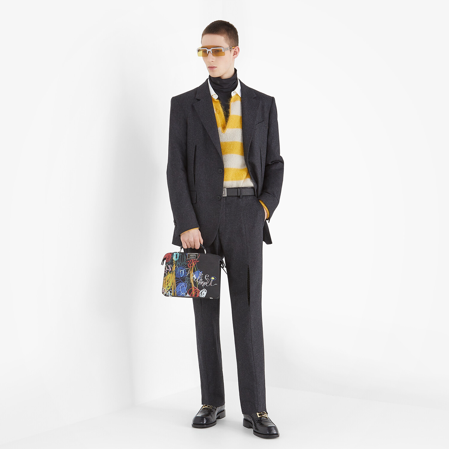 FENDI PULLOVER - Multicolor mohair and wool pullover - view 4 detail