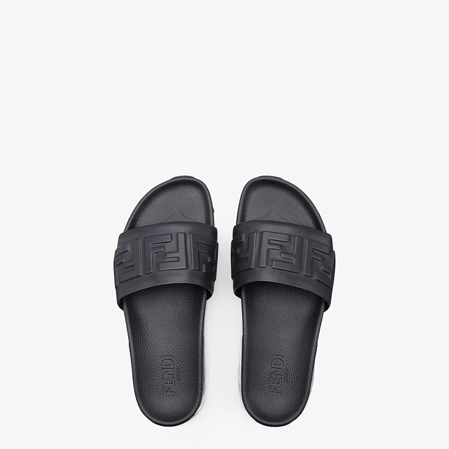 FENDI SLIDES - Black leather fussbett - view 4 detail