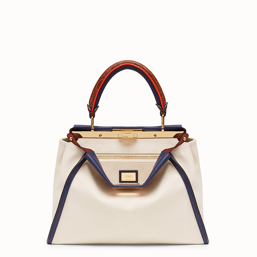 FENDI PEEKABOO REGULAR - White canvas bag with exotic details - view 1 detail