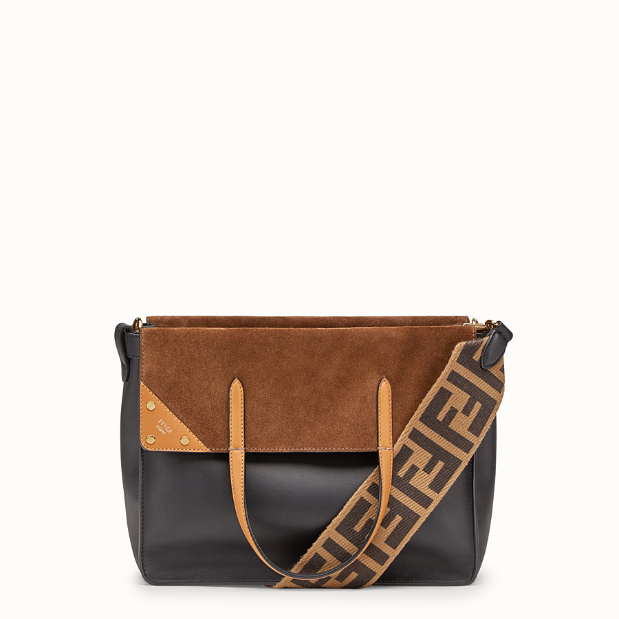 FENDI FENDI FLIP LARGE - Multicolor leather and suede bag - view 1 detail