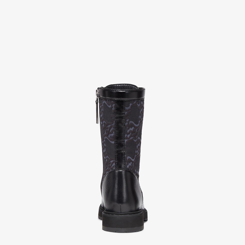 FENDI SIGNATURE - Black leather biker boots - view 3 detail