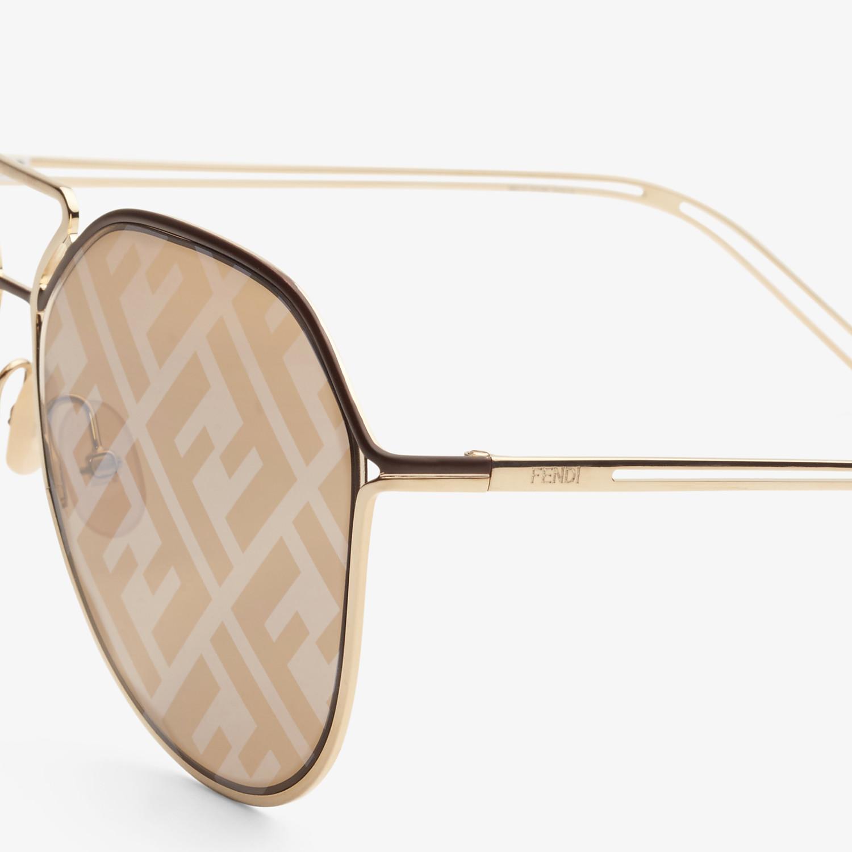 FENDI FENDI GRID - Brown and gold sunglasses - view 3 detail