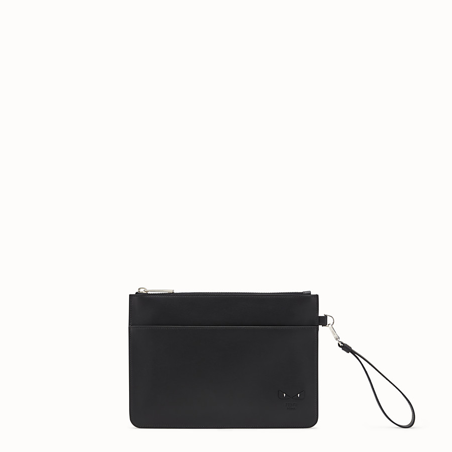 FENDI POUCH - Smooth black leather pochette - view 1 detail