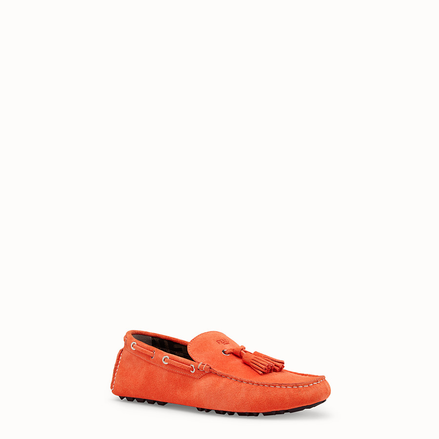 FENDI LOAFERS - Orange leather drivers - view 2 detail