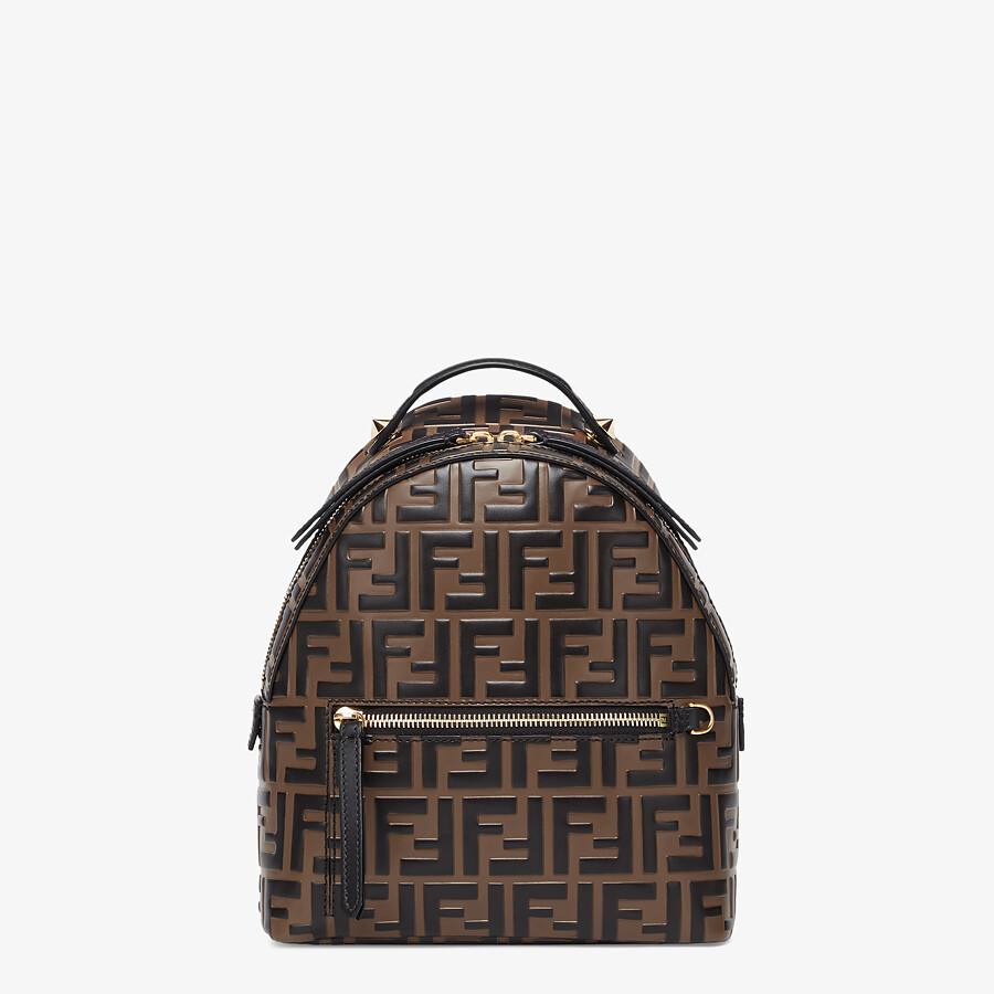 FENDI MINI BACKPACK - Brown leather FF backpack - view 1 detail