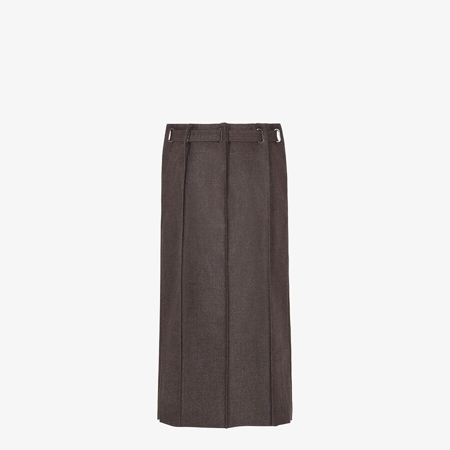 FENDI SKIRT - Brown cashmere and flannel skirt - view 2 detail