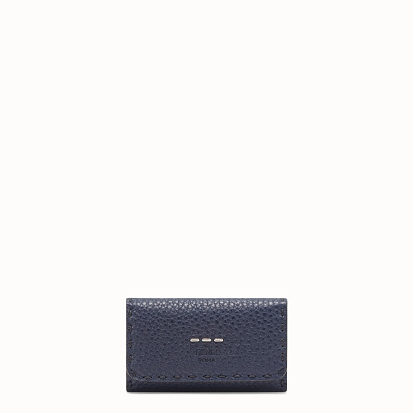 FENDI KEY RING - Blue Romano leather pouch - view 1 small thumbnail