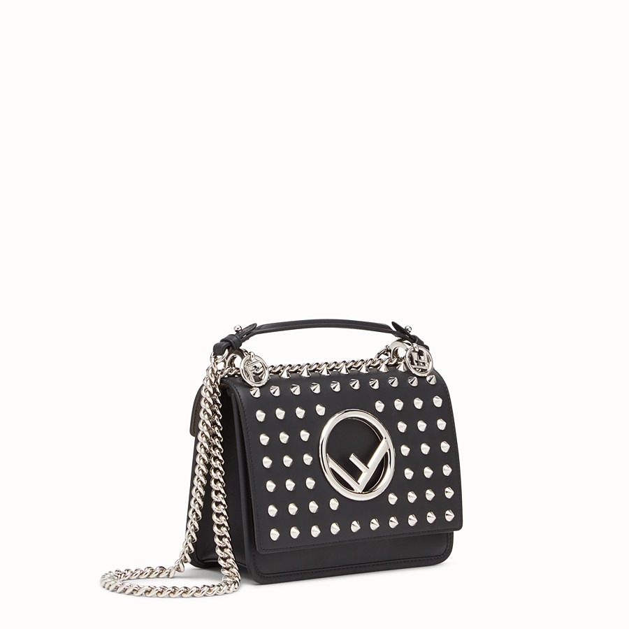 FENDI KAN I F SMALL - Black leather mini-bag - view 2 detail