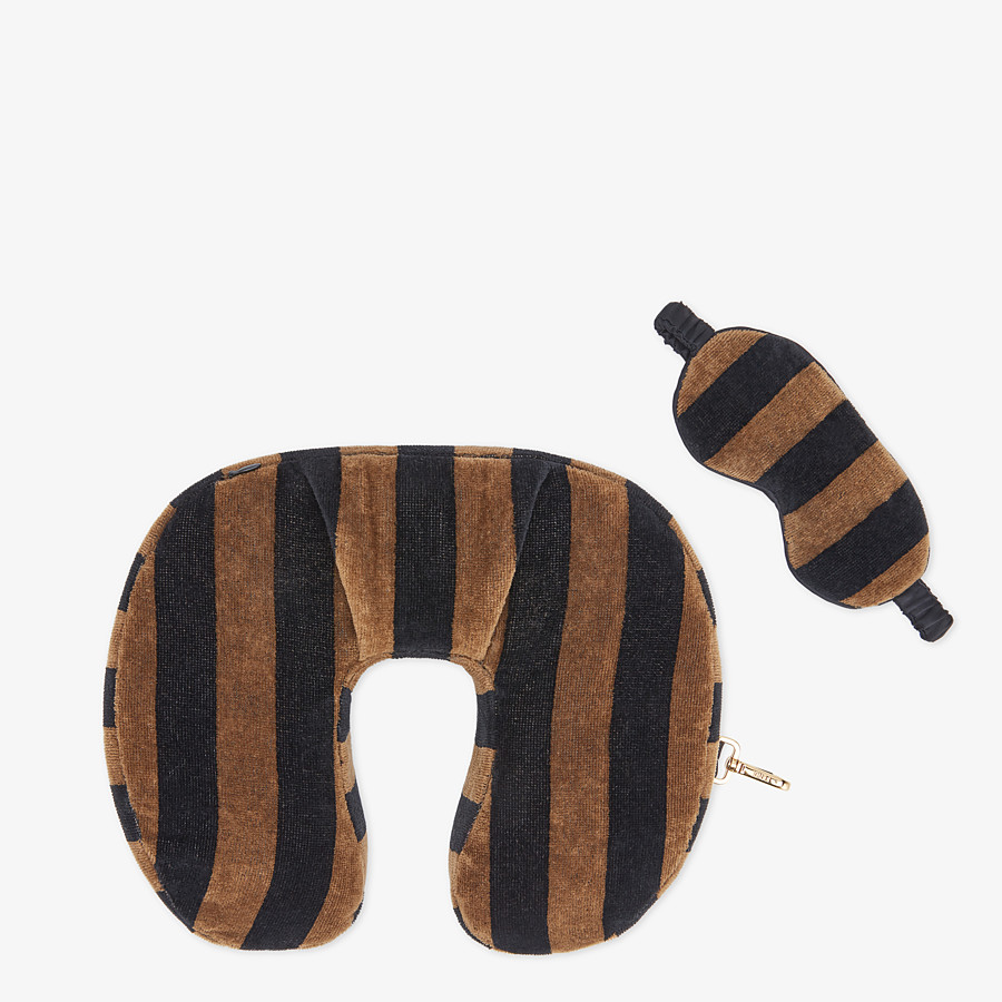 FENDI TRAVEL SET - Brown terry cushion and mask - view 1 detail