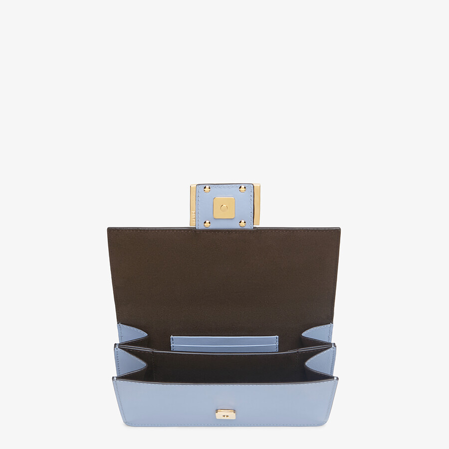 FENDI FLAT BAGUETTE - Light blue leather mini-bag - view 5 detail