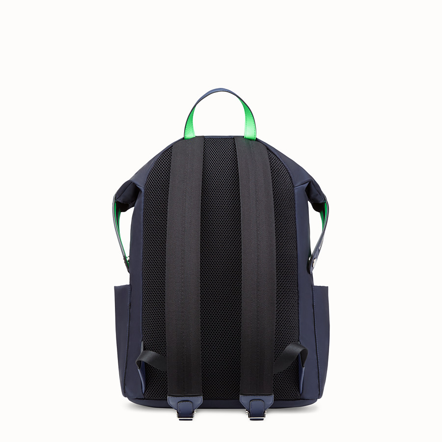 FENDI BACKPACK - Blue nylon and leather backpack - view 3 detail
