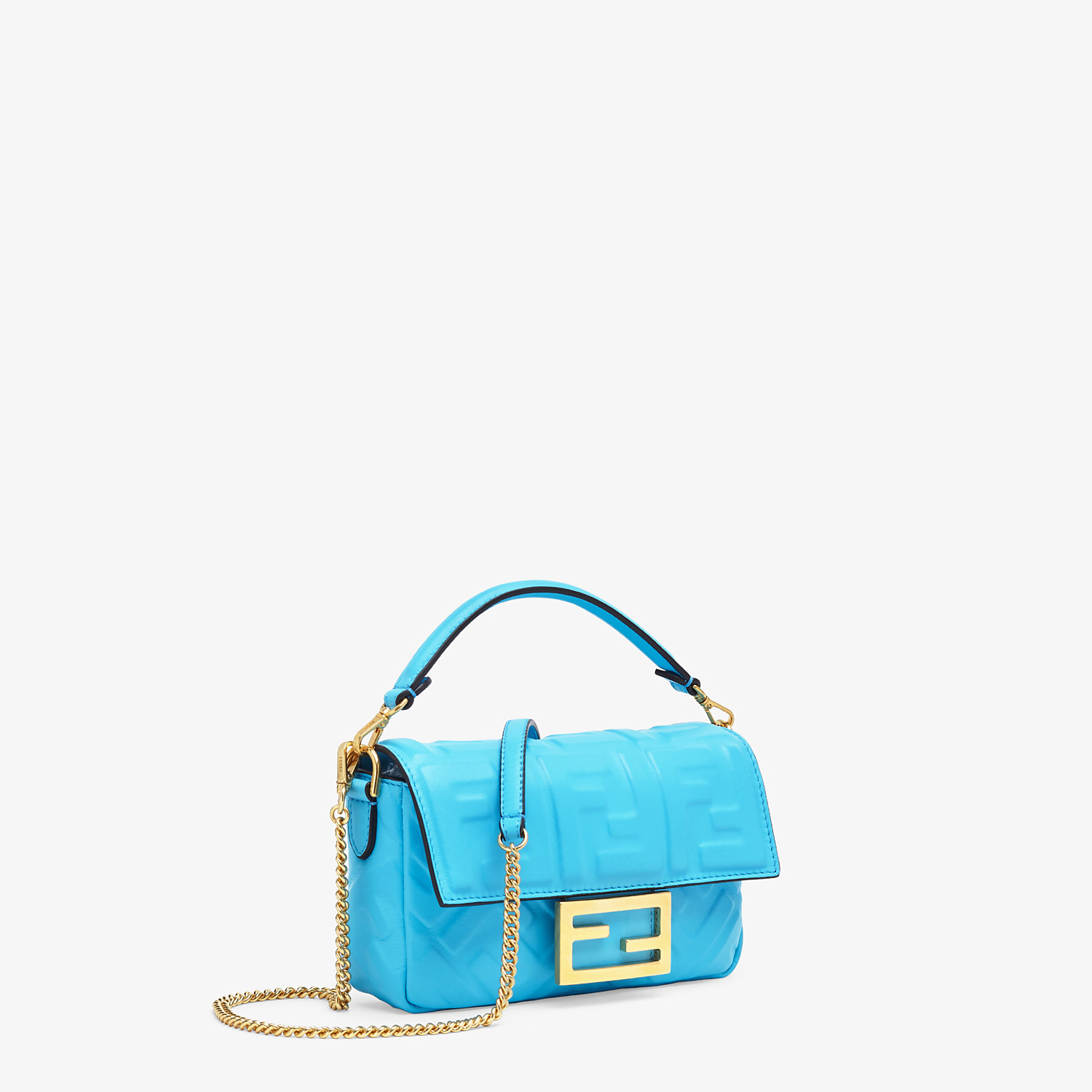 FENDI BAGUETTE - Light blue FF Signature nappa leather bag - view 3 detail