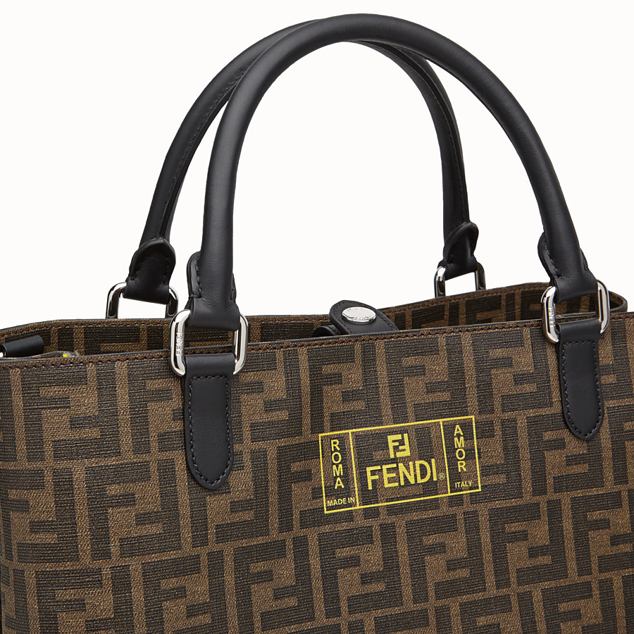 FENDI TOTE BAG - Shopper in brown fabric - view 5 detail