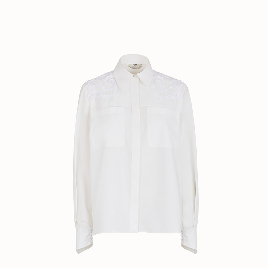FENDI SHIRT - White cotton taffeta shirt - view 1 detail