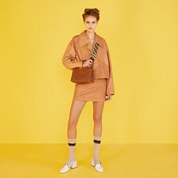 FENDI PEEKABOO ICONIC MINI - Sac en cuir marron interlace - view 2 thumbnail