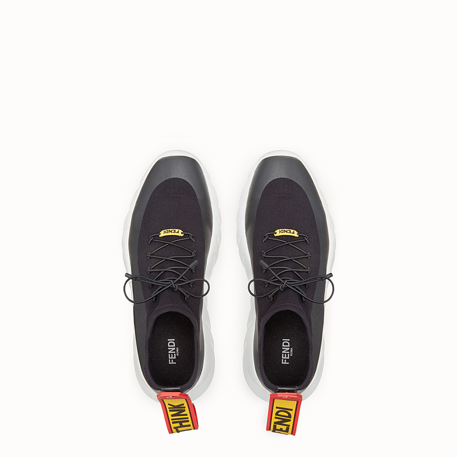 FENDI SNEAKERS - High-tops in black technical knit fabric - view 4 detail