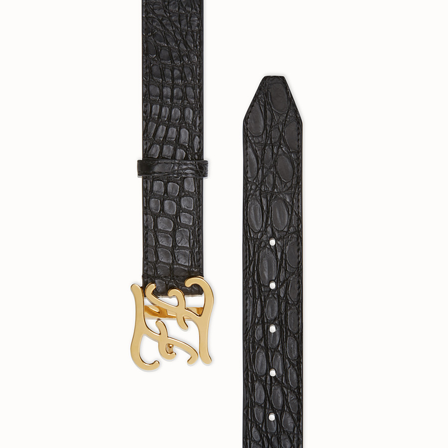 FENDI  - Black caiman belt - view 2 detail