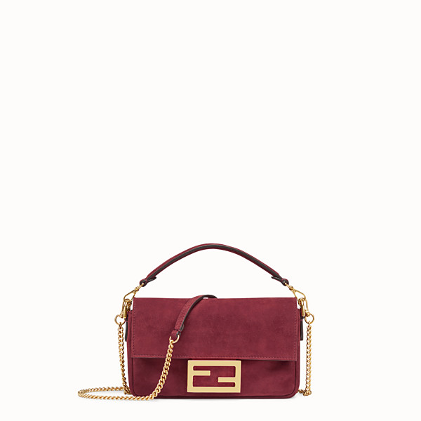 FENDI MINI BAGUETTE - Pink suede bag - view 1 small thumbnail
