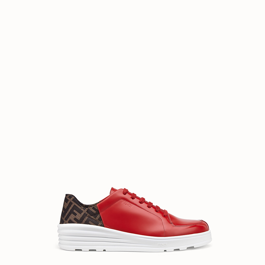 FENDI SNEAKERS - Red leather low-tops - view 1 detail
