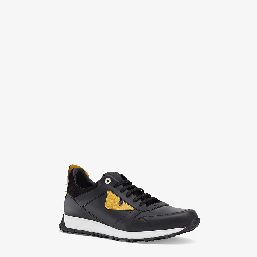 FENDI BAG BUGS SNEAKERS - Black and yellow leather lace-up - view 2 detail