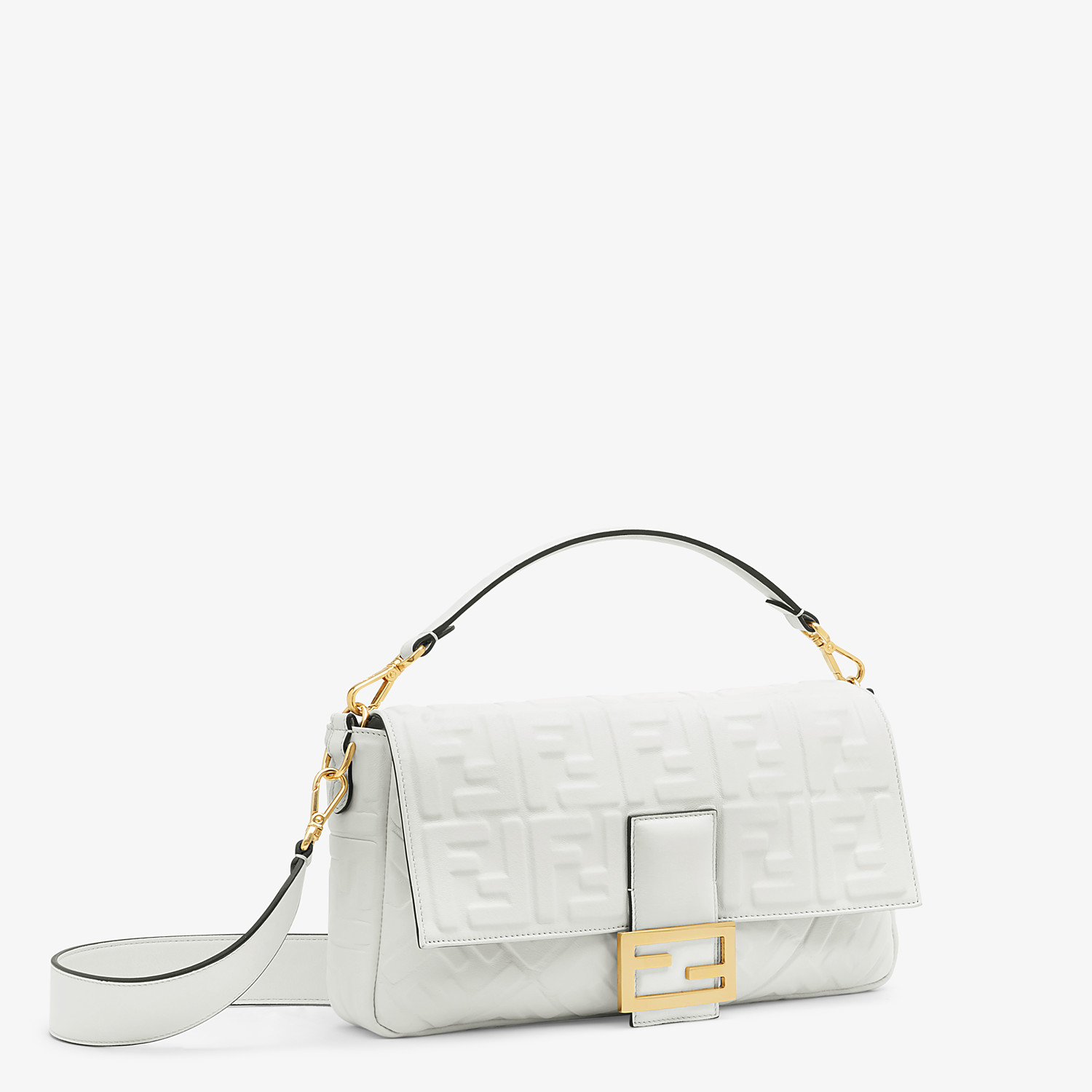 FENDI BAGUETTE LARGE - White leather bag - view 3 detail