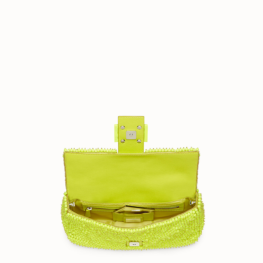 FENDI BAGUETTE - citron yellow shoulder bag decorated all over - view 4 detail