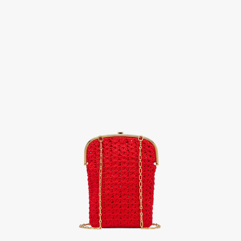 FENDI BAGUETTE PHONE BAG - Red fabric mini-bag - view 3 detail