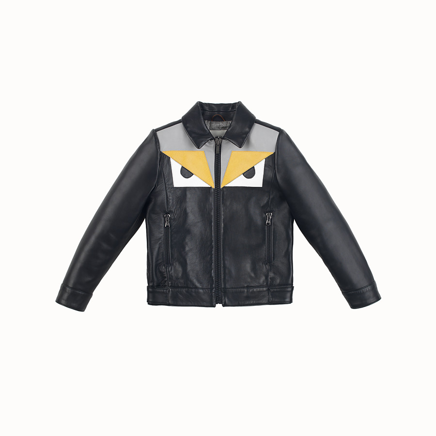 FENDI JACKET - in black and grey leather - view 1 detail