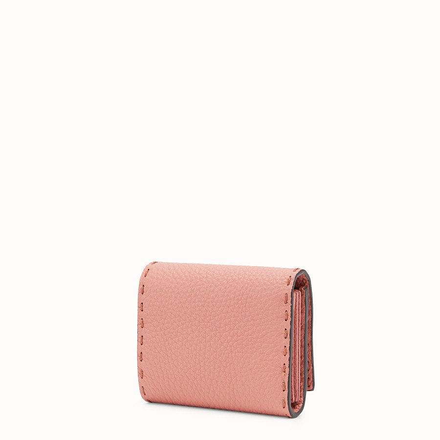 FENDI CARD HOLDER - Pink leather card-holder with exotic details - view 2 detail