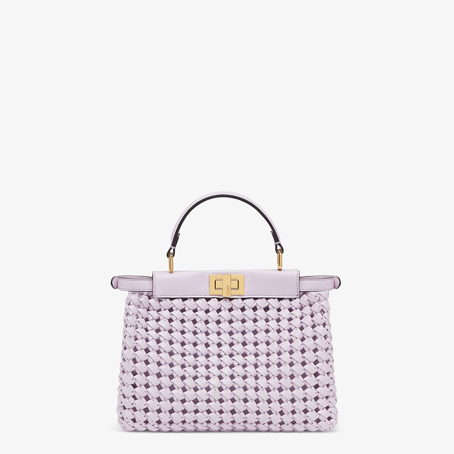FENDI PEEKABOO ICONIC MINI - Lilac leather interlace bag - view 4 detail