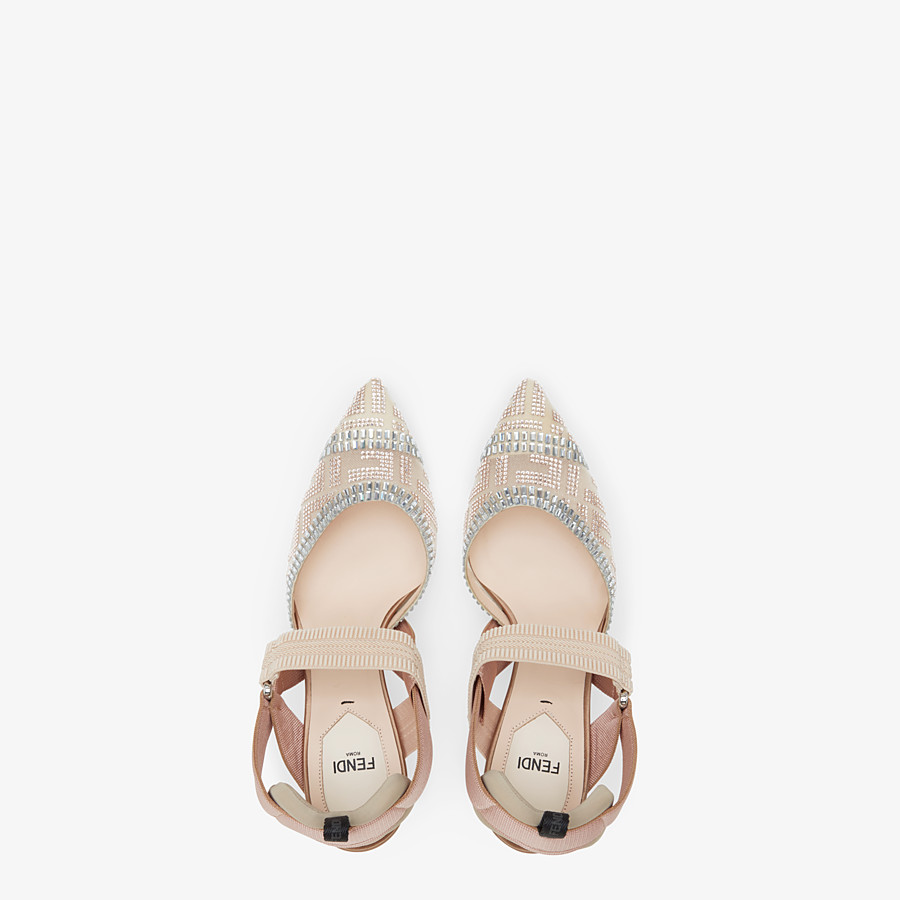 FENDI SLINGBACKS - Colibrì in nude mesh and leather - view 4 detail