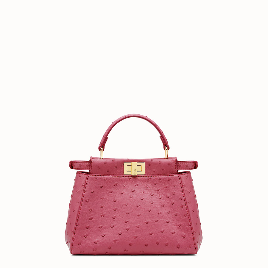 FENDI PEEKABOO ICONIC MINI - Red ostrich leather handbag. - view 3 detail