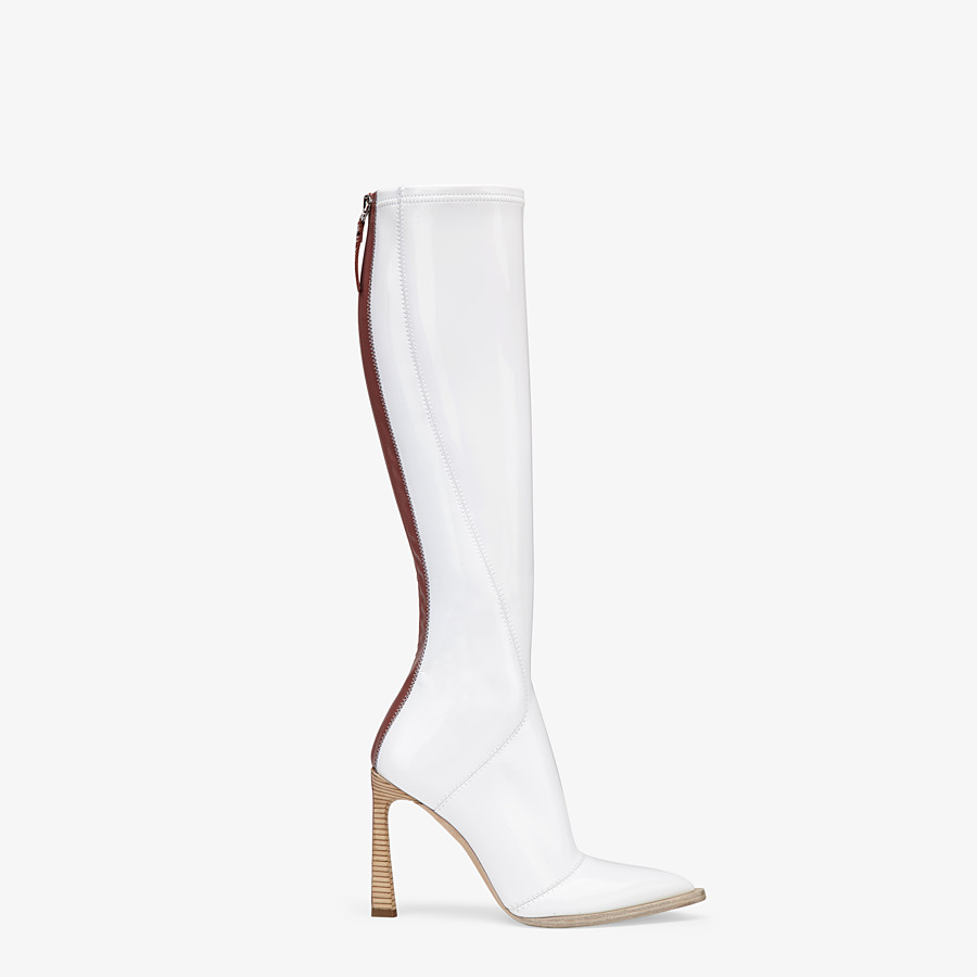 FENDI BOOTS - Boot in glossy, white neoprene - view 1 detail