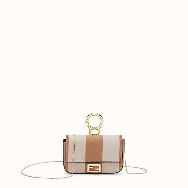 FENDI NANO BAGUETTE - Beige nubuck leather charm - view 1 small thumbnail