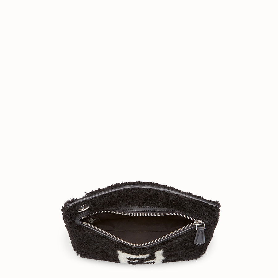 FENDI MEDIUM PYRAMID - Black shearling pouch - view 3 detail