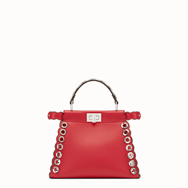 FENDI PEEKABOO MINI - Exotic red leather bag - view 1 small thumbnail
