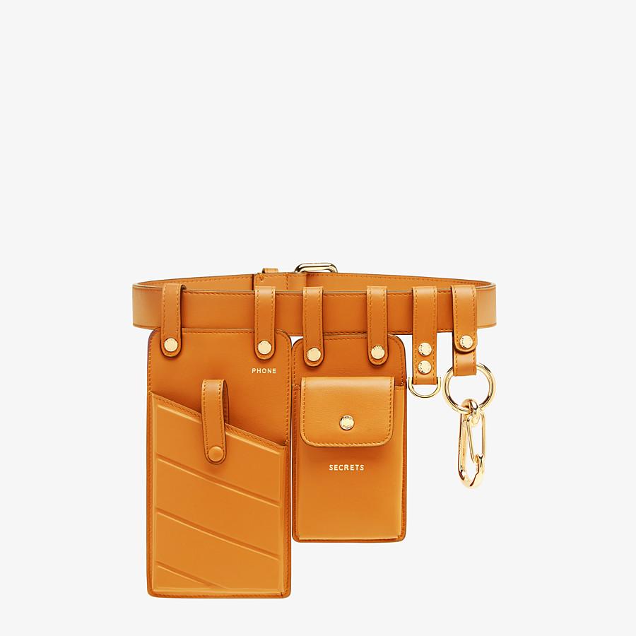 Orange Leather Belt Belt Fendi Fendi long leather jacket coat with belt strap xl size padded shoulders. belt