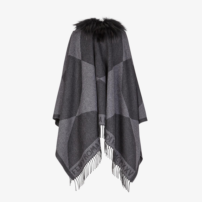 FENDI TOUCH OF FUR PONCHO - Black wool poncho - view 2 detail