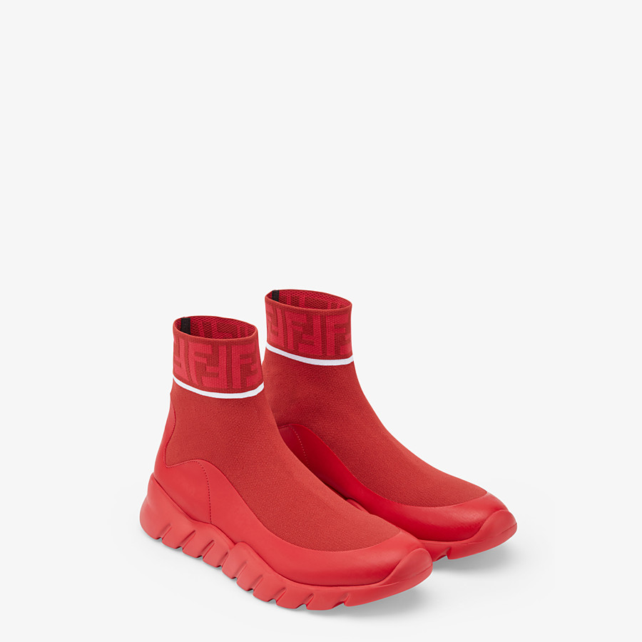FENDI SNEAKERS - Red, tech fabric high tops - view 4 detail