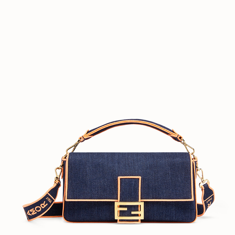 FENDI BAGUETTE LARGE - Tasche aus Denim in Blau - view 1 detail