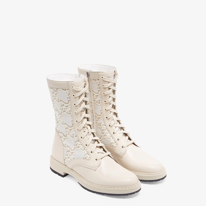FENDI SIGNATURE - White leather biker boots - view 4 detail