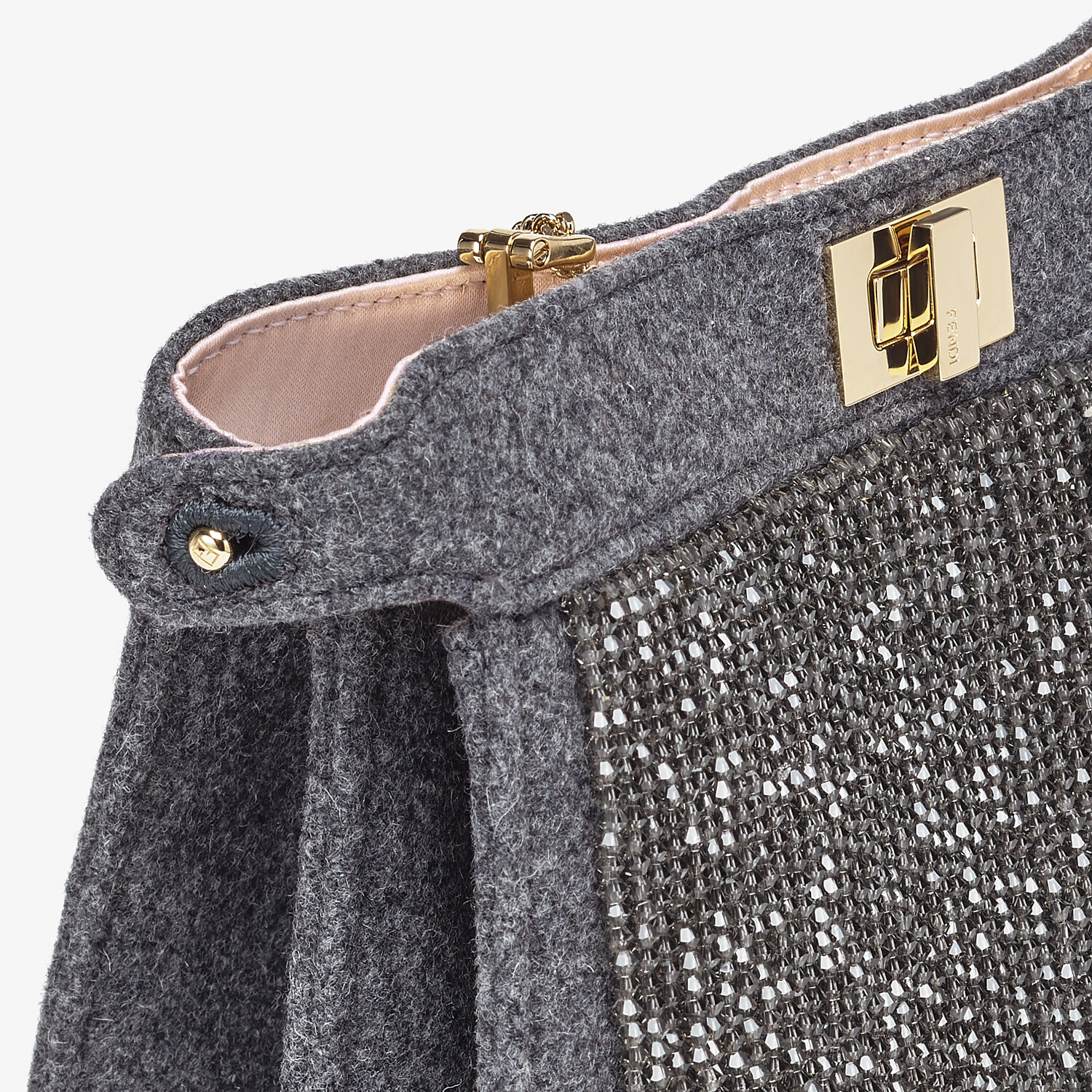 FENDI PEEKABOO ISEEU POCHETTE - Gray flannel bag with fringes - view 5 detail