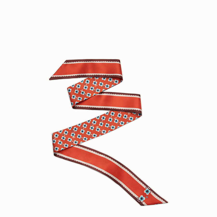 FENDI FENDI FLOWERS WRAPPY - Bandeau in red silk - view 1 detail