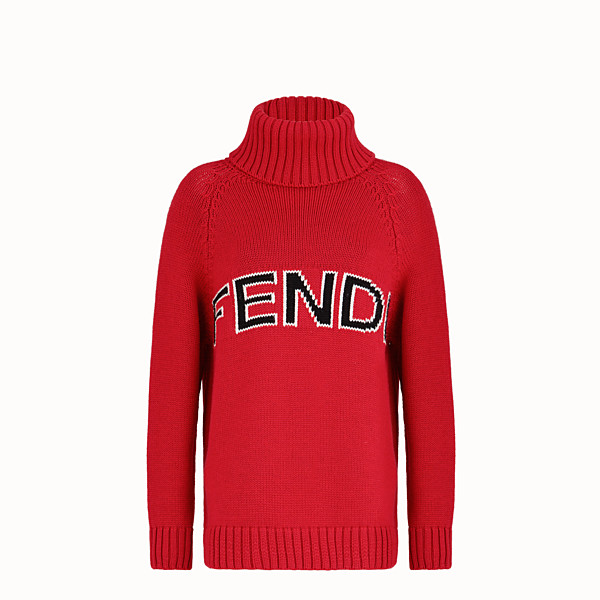 FENDI Turtleneck - Red wool sweater - view 1 small thumbnail