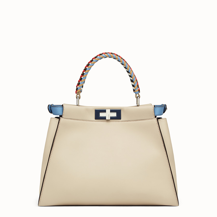 FENDI PEEKABOO REGULAR - Beige leather bag - view 3 detail
